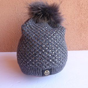 Furlux Embellished Fox Fur Pom-Pom Beanie, NEW